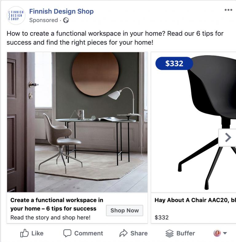 пример Facebook реклама