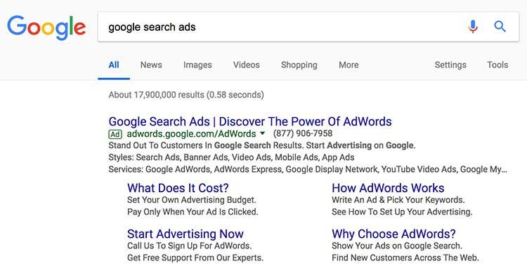 Примери за Реклама при търсене в Google с разширения