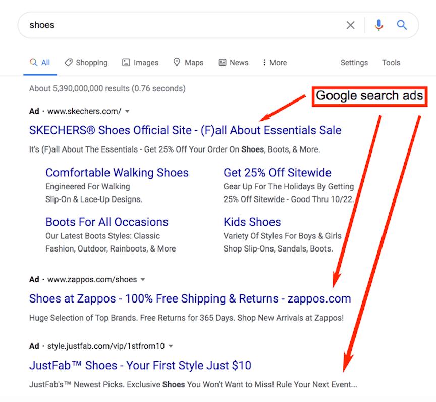 Примери за Реклама при търсене в Google